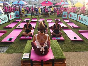 Participants enjoy silent meditation from Hit105 radio station.