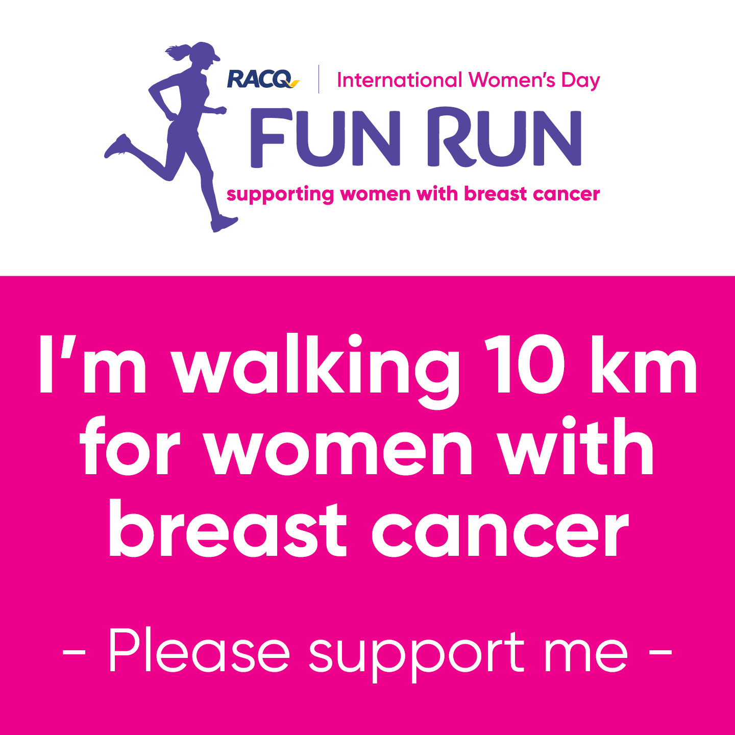 Instagram - I'm walking 10 km - please support