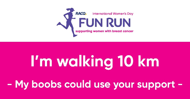 Facebook - I'm walking 10 km - My boobs could use your support