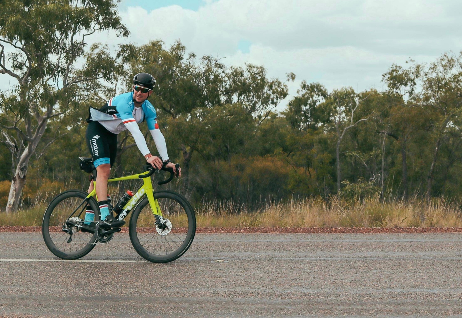 Joel cycling on a Mater Smiling for Smiddy challenge