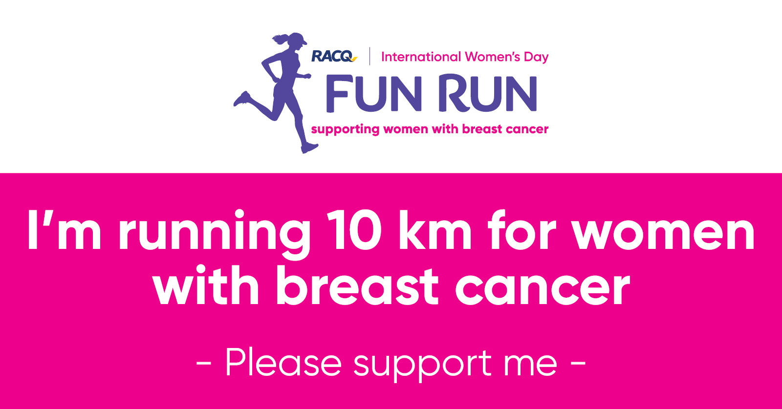 Facebook - I'm running 10 km - please support