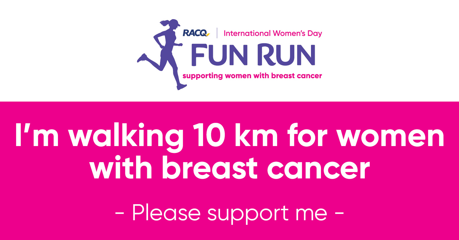 Facebook - I'm walking 10 km - please support