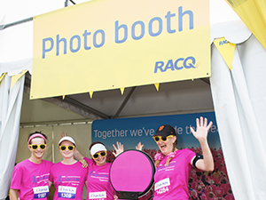 Participants enjoy having their photo taken at RACQ's Photo Booth stand.