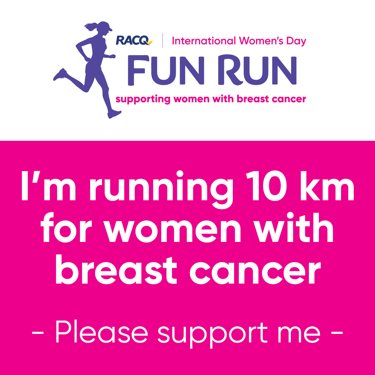 Instagram - I'm running 10 km - please support