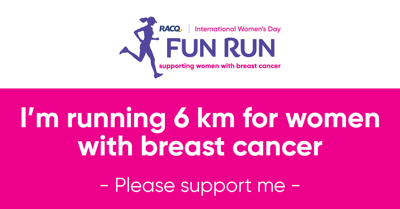 Facebook - I'm running 6 km - please support
